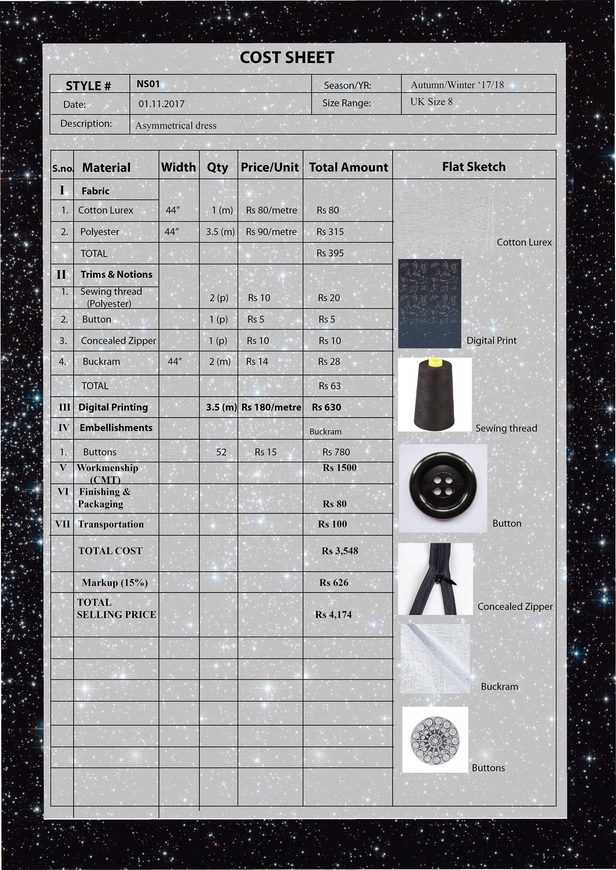 Cost Sheet – Asymmetric Dress