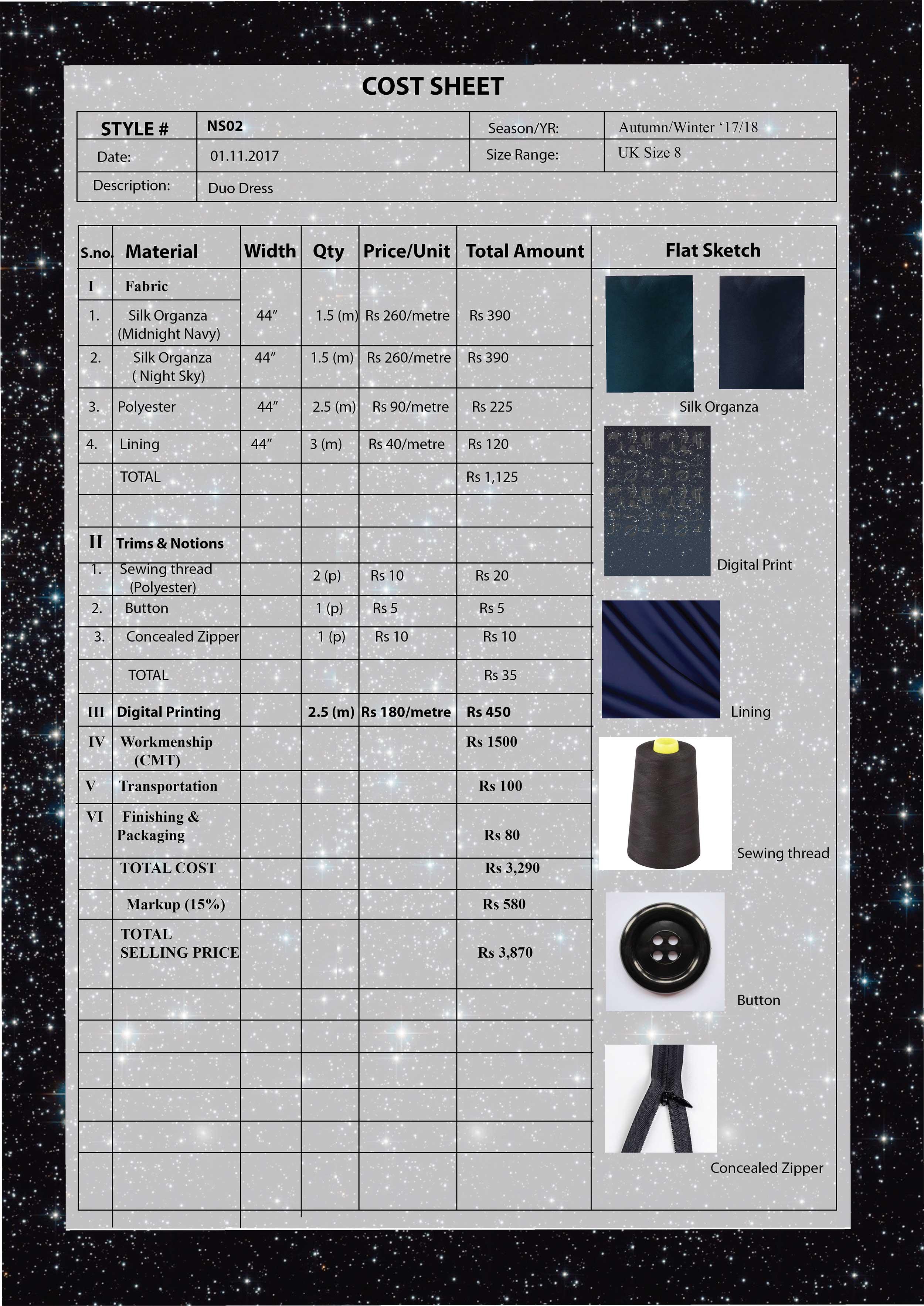 Cost Sheet-Duo Dress