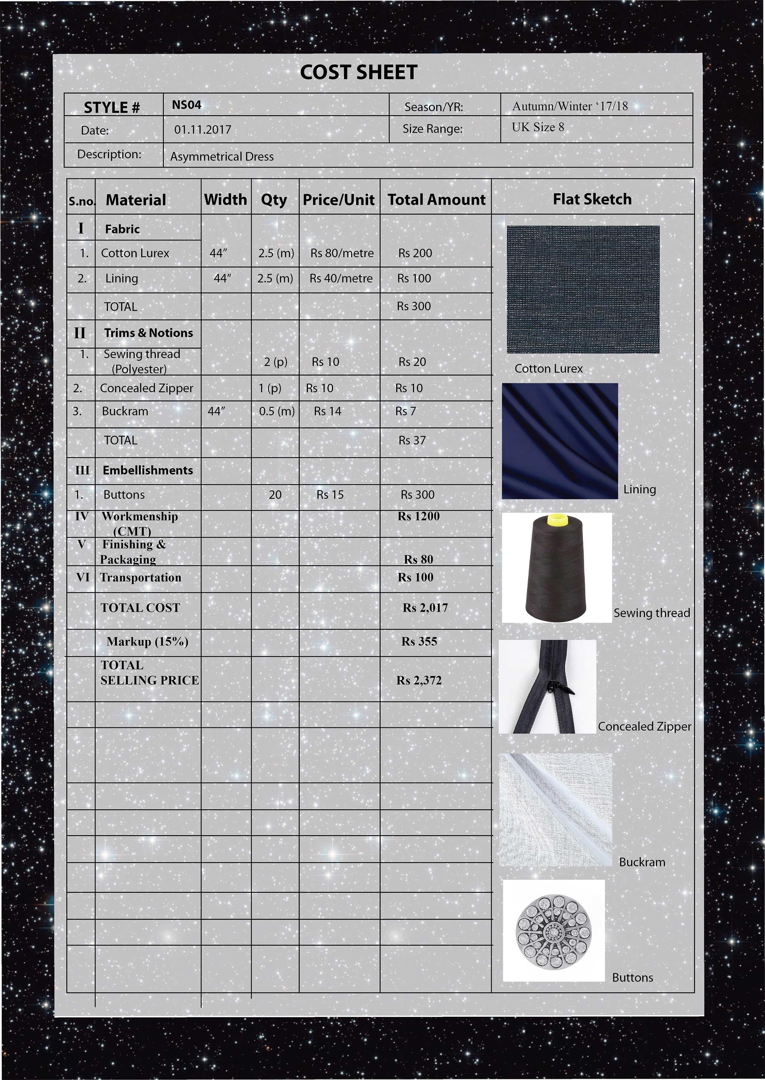 Cost Sheet-  Asymmetric Dress with cutout