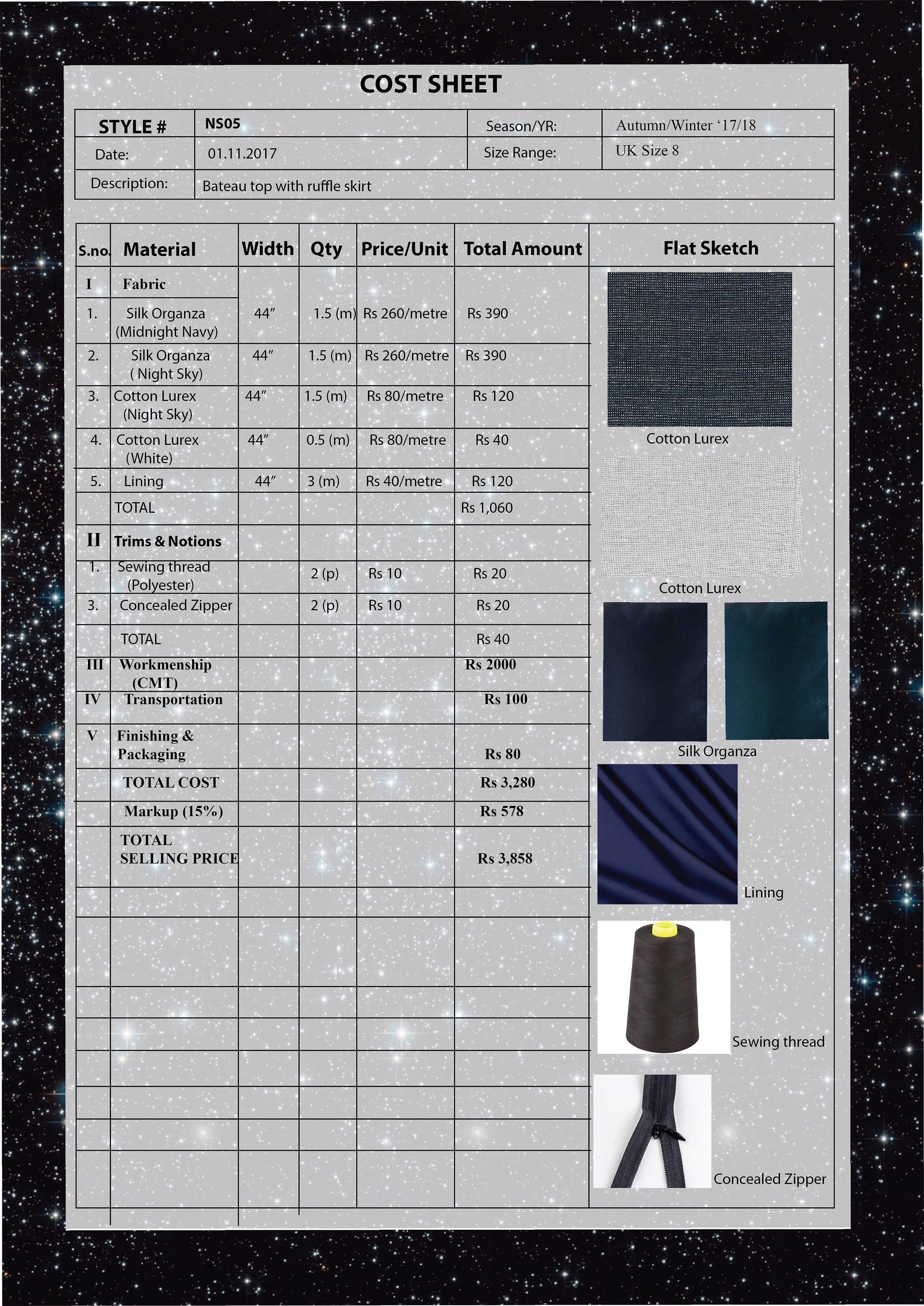 Cost Sheet-Bateau Top with Ruffle Skirt
